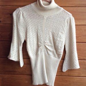 CATHERINE MALANDRINO ivory wool sweater top Medium